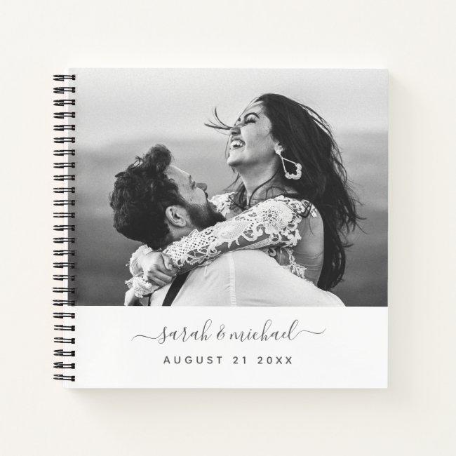 Modern Elegant Calligraphy Photo Wedding Guest Notebook