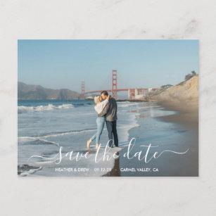 Modern Elegant Calligraphy Save The Date Wedding Postcard