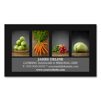 Modern Elegant Catering Chef Business Card Magnetic Business Cards (Pack Of 25)