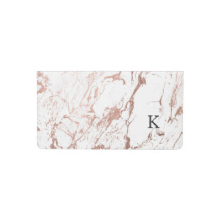 Modern elegant chic faux rose gold white marble checkbook cover