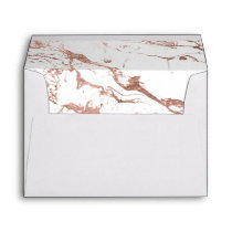 Modern elegant chic faux rose gold white marble envelope