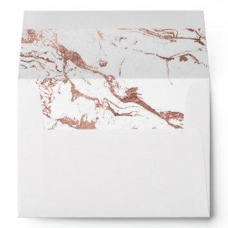 Modern elegant chic faux rose gold white marble envelope