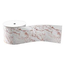Modern elegant chic faux rose gold white marble grosgrain ribbon