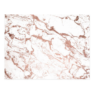 Modern elegant chic faux rose gold white marble postcard