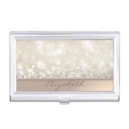 Modern Elegant Chic Girly  Glittery,Bokeh Business Card Holder