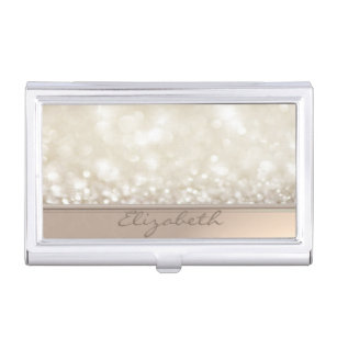 Elegant business card holders cases zazzle modern elegant chic girly glitterybokeh business card holder colourmoves