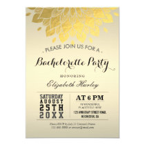 Modern Elegant Chic Gold Floral Bachelorette Party Card