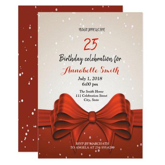 Modern Elegant Chic Red Ribbon Birthday Invitation