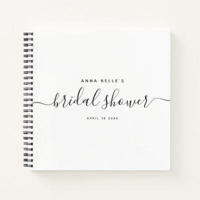 Modern Elegant Chic Script Bridal Shower Guest Notebook
