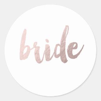 "modern elegant clear faux rose gold ""bride"" classic round sticker"