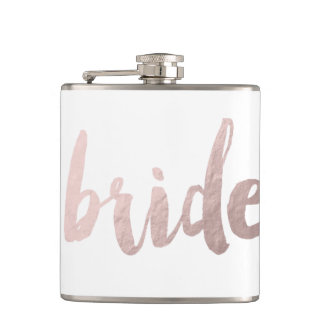 "modern elegant clear faux rose gold ""bride"" hip flask"