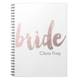 "modern elegant clear faux rose gold ""bride"" notebook"