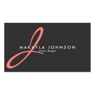Modern & Elegant coral pink Monogram Professional Double-Sided Standard Business Cards (Pack Of 100)