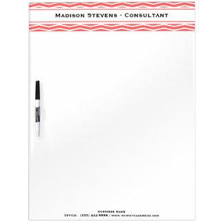 Modern Elegant Coral Zig Zag Dry Erase Board