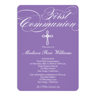 Modern Elegant Cross Communion Invite for Girls