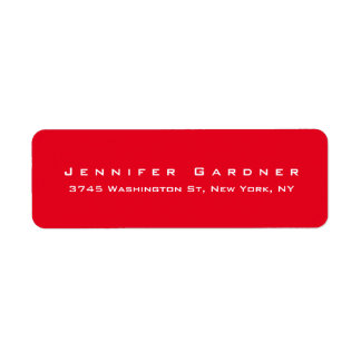 Modern Elegant Cute Stylish Bright Red Colored Label
