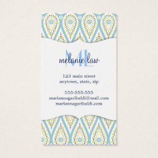 Modern Elegant Damask Blue Paisley Personalized Business Card