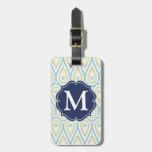 Modern Elegant Damask Blue Paisley Personalized Luggage Tag