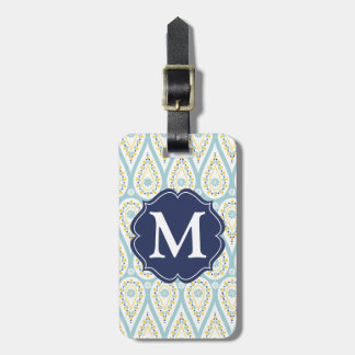 Modern Elegant Damask Blue Paisley Personalized Tag For Bags