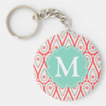 Modern Elegant Damask Coral Paisley Personalized Basic Round Button Keychain