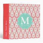Modern Elegant Damask Coral Paisley Personalized Vinyl Binder
