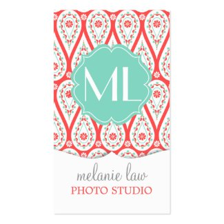 Modern Elegant Damask Coral Paisley Personalized Business Cards