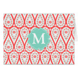 Modern Elegant Damask Coral Paisley Personalized Greeting Card