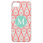 Modern Elegant Damask Coral Paisley Personalized iPhone 5 Cases