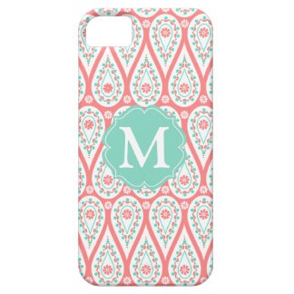 Modern Elegant Damask Coral Paisley Personalized iPhone 5 Covers