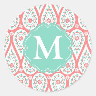 Modern Elegant Damask Coral Paisley Personalized Classic Round Sticker