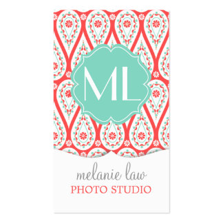 Modern Elegant Damask Coral Paisley Personalized Double-Sided Standard Business Cards (Pack Of 100)