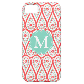 Modern Elegant Damask Coral Paisley Personalized iPhone SE/5/5s Case