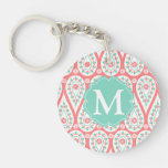 Modern Elegant Damask Coral Paisley Personalized Keychains