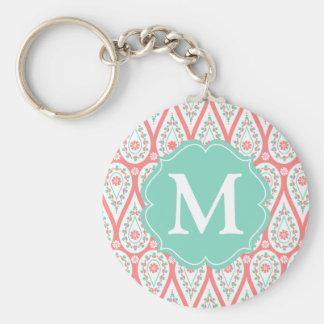 Modern Elegant Damask Coral Paisley Personalized Keychain
