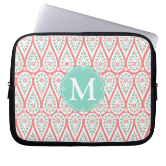 Modern Elegant Damask Coral Paisley Personalized Computer Sleeves
