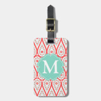 Modern Elegant Damask Coral Paisley Personalized Luggage Tag