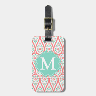 Modern Elegant Damask Coral Paisley Personalized Tags For Luggage