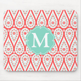 Modern Elegant Damask Coral Paisley Personalized Mouse Pad