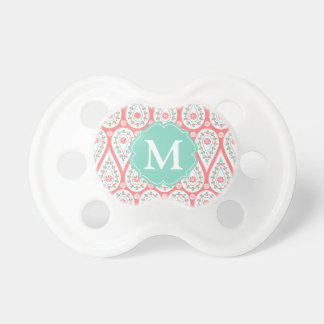 Modern Elegant Damask Coral Paisley Personalized Baby Pacifier