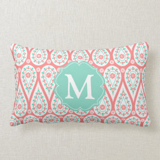 Modern Elegant Damask Coral Paisley Personalized Throw Pillows