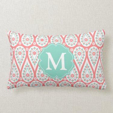 Modern Elegant Damask Coral Paisley Personalized Throw Pillows