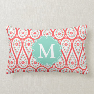 Modern Elegant Damask Coral Paisley Personalized Pillow