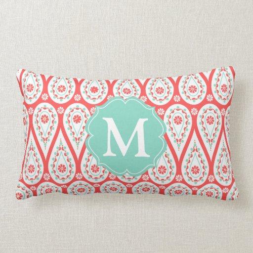 Modern Elegant Damask Coral Paisley Personalized Pillow