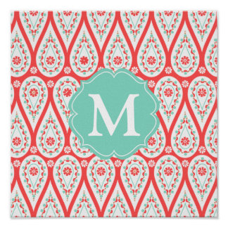 Modern Elegant Damask Coral Paisley Personalized Poster