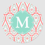 Modern Elegant Damask Coral Paisley Personalized Round Sticker