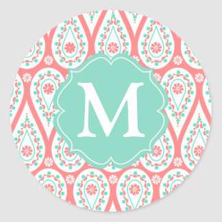 Modern Elegant Damask Coral Paisley Personalized Round Sticker