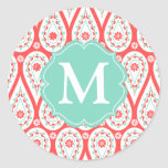 Modern Elegant Damask Coral Paisley Personalized Round Stickers