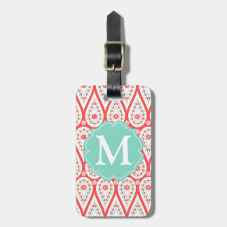 Modern Elegant Damask Coral Paisley Personalized Tag For Luggage