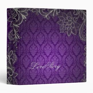 modern elegant damask purple wedding binder