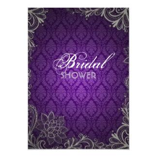 modern elegant damask purple wedding bridal shower card